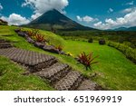 volcano of arenal with stone... | Shutterstock . vector #651969919
