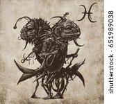 pisces horoscope sign ... | Shutterstock . vector #651989038