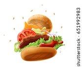 flying burger isolated on white ... | Shutterstock . vector #651992983