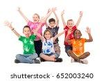 group of happy children posing... | Shutterstock . vector #652003240