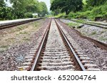railroad tracks on the hill in... | Shutterstock . vector #652004764