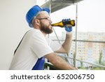 a construction worker in work...   Shutterstock . vector #652006750