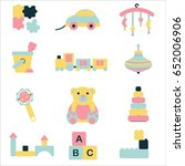 cute toys collection isolated... | Shutterstock .eps vector #652006906