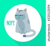 Angry Grumpy Cat Flat Vector...