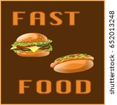 fast food set for menu card ... | Shutterstock . vector #652013248