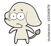 cartoon unsure elephant   Shutterstock .eps vector #652040878