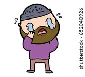 cartoon bearded man crying | Shutterstock .eps vector #652040926