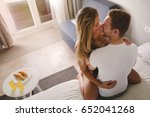 playful couple affectionate in... | Shutterstock . vector #652041268
