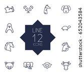 set of 12 animal outline icons... | Shutterstock .eps vector #652043584