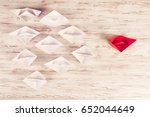 set of origami boats on wooden... | Shutterstock . vector #652044649