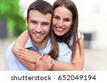 happy young couple  | Shutterstock . vector #652049194