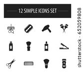 set of 12 editable tonsorial... | Shutterstock .eps vector #652059808