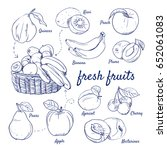 doodle set of fresh fruits  ... | Shutterstock .eps vector #652061083