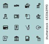 set of 16 editable banking... | Shutterstock .eps vector #652063990