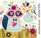 vector illustration with cute... | Shutterstock .eps vector #652067590