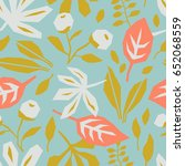 seamless pattern with leaves | Shutterstock .eps vector #652068559