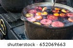 hot gluhwein or mulled wine in... | Shutterstock . vector #652069663
