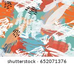 doodles with crayon and grunge... | Shutterstock .eps vector #652071376