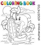 coloring book dolphin theme 3   ...   Shutterstock .eps vector #652074733