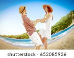 two young lovers on beach and... | Shutterstock . vector #652085926