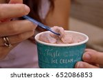 woman eating cup with... | Shutterstock . vector #652086853