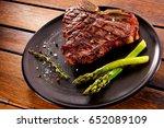 grilled beef steak with... | Shutterstock . vector #652089109