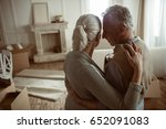 tender senior husband and wife... | Shutterstock . vector #652091083