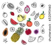hand drawn sketch set of fruits.... | Shutterstock .eps vector #652095460