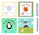 set of baby shower invitation... | Shutterstock .eps vector #652097098
