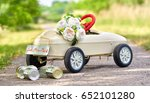 honeymoon car  pedal car with... | Shutterstock . vector #652101280