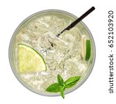 vodka or soda drink with lime...   Shutterstock . vector #652103920