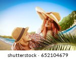 summer day on beach and two... | Shutterstock . vector #652104679