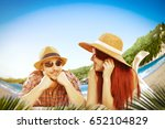 summer day on beach and two... | Shutterstock . vector #652104829