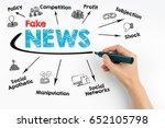 fake news concept. human hand... | Shutterstock . vector #652105798