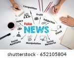 fake news concept. the meeting... | Shutterstock . vector #652105804