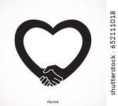 handshake. heart symbol. vector ... | Shutterstock .eps vector #652111018