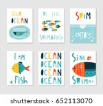 set of 6 cute creative cards... | Shutterstock .eps vector #652113070