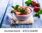 cold strawberry soup with mint... | Shutterstock . vector #652116640