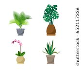 set of vector indoor plants on... | Shutterstock .eps vector #652117336
