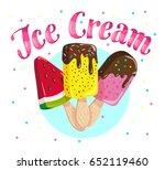 flat ice cream truck  shop ... | Shutterstock . vector #652119460