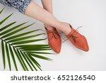 female legs wearing cognac... | Shutterstock . vector #652126540