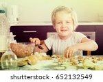 cheerful cute little girl... | Shutterstock . vector #652132549