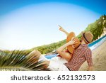 two lovers on beach and summer... | Shutterstock . vector #652132573
