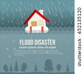 flood disaster with home on... | Shutterstock .eps vector #652135120