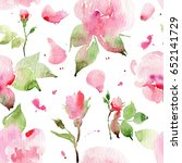 Stock photo seamless floral pattern with roses watercolor watercolor roses 652141729