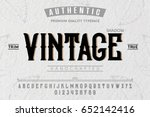 Stock vector font alphabet script typeface label vintage typeface for labels and different type designs 652142416