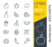 lineo editable stroke   fruits... | Shutterstock .eps vector #652143076
