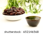 organic raw dates served with... | Shutterstock . vector #652146568