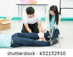 Small photo of Bangkok, Thailand - May 28, 2017: First Aid Classes with Nurse Aide students.