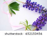blue background  lilac lupine ... | Shutterstock . vector #652153456